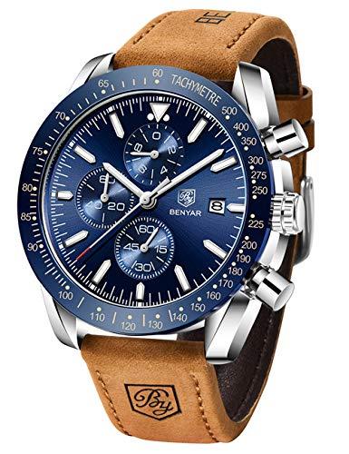 BENYAR - Reloj cronógrafo clásico y elegante, con estilo casual, deportivo, correa de cuero, para hombre, 5140L, Azul plateado