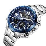 WTY Herren Quarzuhr Digital Dual Display Lässige wasserdichte Armbanduhren Kompletter Kalender Leuchtzeiger Wochenanzeige Multifunktionsuhren,Blau