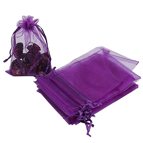HRX Package 100pcs Organza Bags, 4 x 6 inches Christmas Wedding Favors Gift Drawstring Bags Jewelry Pouches Candy Pouches(Purple)