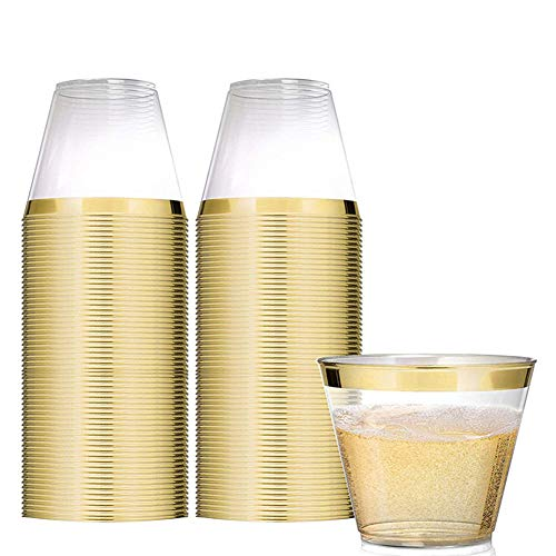 Tancurry 25Stück Durchsichtig Mit Goldrand Kunststoff Becher Plastik-Becher Trinkbecher für Party Hochzeit, Camping, Strand Und Picknick (Gold)