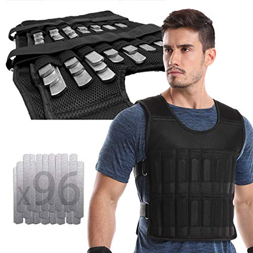 LEKÄRO Adjustable Weighted Vest 44LB Fitness Weight Training Workout Boxing Jacket (Including Weight: 96 Plated Steel Plates)