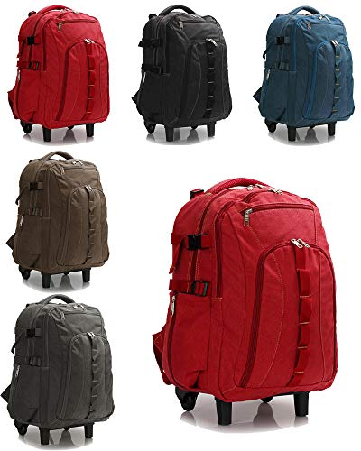 Unisex Canvas Backpack Rucksack + Wheels Trolley Lightweight Outdoor Travel Luggage Bag Roomy Interior Hiking & Sports Suitcase (Red)