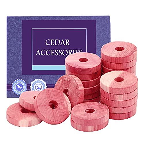 Omio Bloques de cedro para almacenamiento de ropa, 24 anillos de cedro rojo aromático 100% natural para armarios y cajones, anillos de madera de cedro para almacenamiento de ropa
