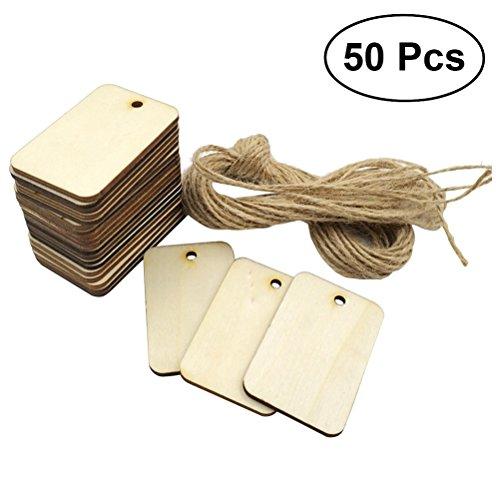 WINOMO Targhette legno rettangolare con corda di canapa 50PCS