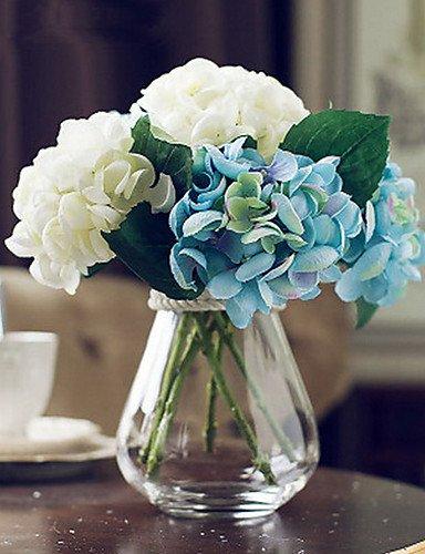 Aufrechtzuerhalten,Künstliche Blumen, gemischten weißen und blauen Hortensien Kunstblumen mit Vase