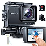 Action Cam Touchscreen, Crosstour CT9700 4K/50FPS Unterwasserkamera Helmkamera (WiFi 20MP Fernbedienung Anti-Shake LDC 2X1350mAh Akkus und Akkuladegerät)