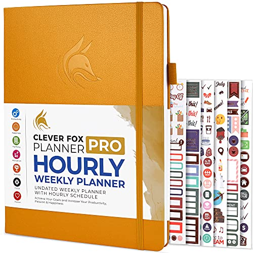 Clever Fox Planner PRO Schedule – Weekly & Monthly Life Planner with Time Slots, Appointment Book and Daily Organizer to Increase Productivity, Undated, A4 Size Hardcover, Lasts 1 Year – Amber Yellow