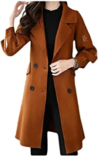 Howely Women Trench Jacket Clothes Midi Embroidered Woolen Elegent Pea Coat