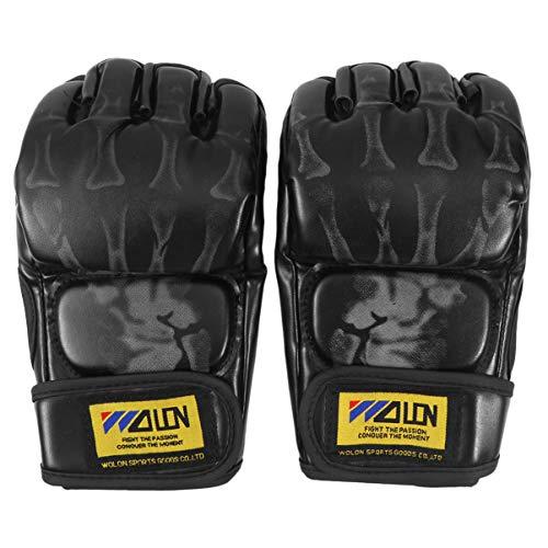 CLISPEED Luvas de Boxe Sem Dedos Respirável Meio Dedo Pu Luvas de Proteção Luvas de Luta Mma para Sanda Sparring Saco de Pancadas Treinamento (Preto)