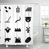 DuschvorhangNavy Duschvorhang Lustiger Duschvorhang für Badezimmer mit Haken Icon Seeds Feldschwein Ernte Mais Windmühle Hühnerschaf