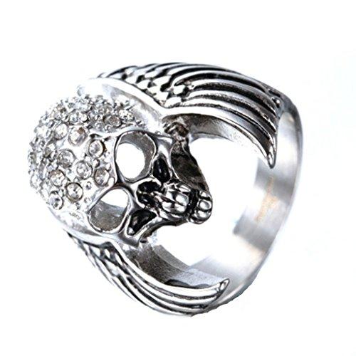 Anyeda Ring Herren Schädel Flügel Ring Herren Edelstahl Silber Ringgröße 54 (17.2)