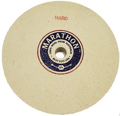 Marathon 5' Felt Honing Wheel, 1/2'' Thick, 1/2' Arbor Hole, Hard Density