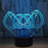 Zwei Schlange 3d beleuchtet das 7 Farben-LED-Nachtlicht-Kind-Noten-LED Usb-Tabellen-Baby-Schlafennachtlicht-Boot