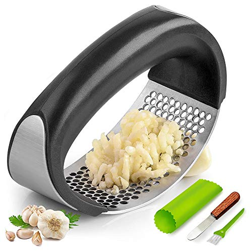 Garlic Press Rocker, Stainless Steel Garlic Mincer Crusher Professional Kitchen Gadgets Garlic Chopper with Ergonomic Handle, Silicone Garlic Peeler