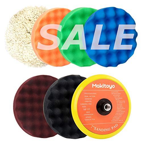 Makitoyo Buffing and Polishing Kit 7-Inch, 5pc of Polishing Sponge Pad & 1 pc Wool Polishing Pads, 1pc Velcro Sanding Pad Kit-7pcs set