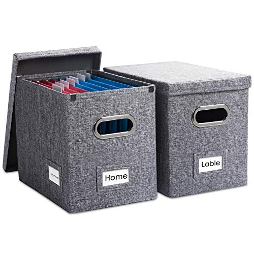 Prandom File Organizer Box - Set of 2 Collapsible Decorative Linen Filing Storage Hanging File Folders with Lids Office Cabinet Letter Size Grey (14x9.3x10.8 inch)