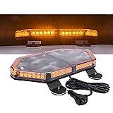 LAMPHUS NanoFlare NFMB56 17' 56W Amber LED Strobe Mini Light Bar [SAE Class 1] [63 Flash Modes] [12ft Cord] [Magnet or Permanent] Yellow Flashing Emergency Warning Light Bar for Truck Vehicles