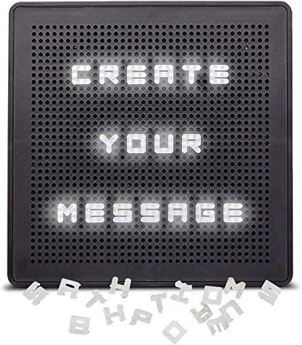 SHARPER IMAGE Light Up Letter Message Board Marquee, Battery Powered and Wall Mounted, 132 Pieces with Letters and Numbers, Includes Micro USB Cord, Popular Home or Office Decor for Teens Adults Dorm
