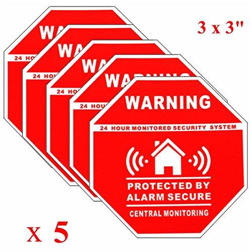 Wchaoen 5 piezas de alarma de casa pegatinas de calcomanías de seguridad para puertas de ventanas Accesorios para herramientas