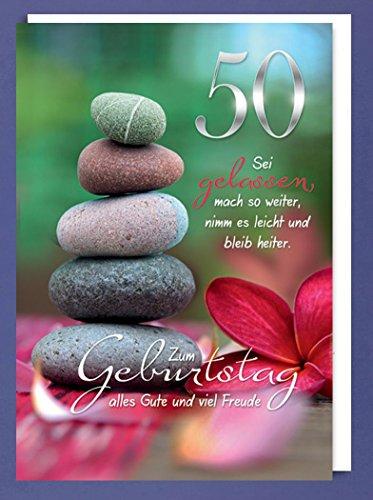 Riesen 50 Geburtstag Karte Grußkarte Wegfinder Steine Glückwunsch A4