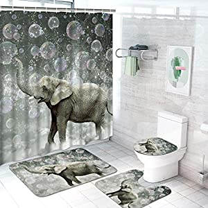 Ikfashoni 4 Pcs Cute Elephant Shower Curtain Set with Non-Slip Rug, Toilet Lid Cover and Bath Mat, Funny Animal Bathroom Shower Curtains with 12 Hooks, Grey Fabric Shower Curtains for Bathroom