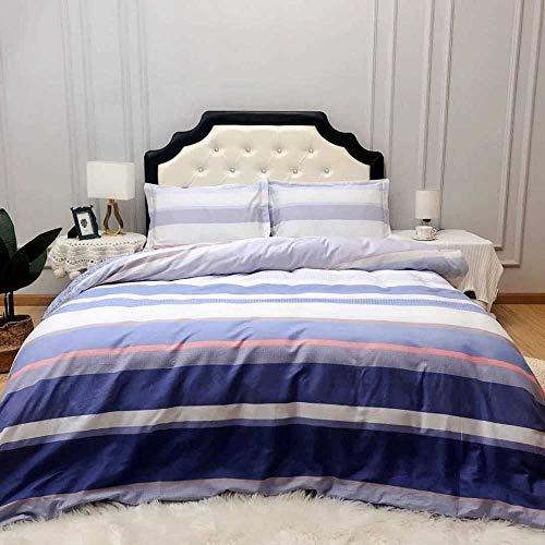 Chuanganja dekbedovertrek, tweepersoonsbed, 4-delig, hoeslaken, kussensloop, zacht en comfortabel, gestreept, blauw / violet