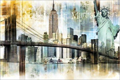 Posterlounge Acrylglasbild 60 x 40 cm: New Yorker Skyline, abstrakt von Städtecollagen - Wandbild, Acryl Glasbild, Druck auf Acryl Glas Bild