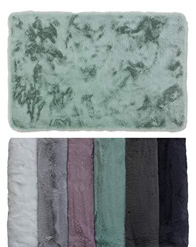 Schöner Wohnen Badezimmerteppich – sehr Flauschige Badematte – waschbar und rutschfest – Mint – 60 x 90 cm