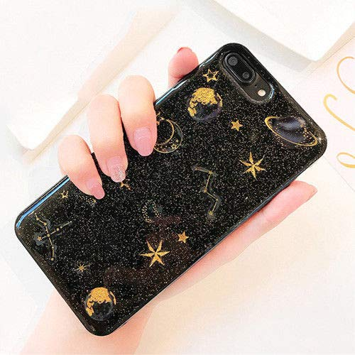 Topwin Space Case Compatible iPhone 7 Plus/8 Plus, Bling Glitter Planet Sparkle Stars Moon Cosmos Outter Space Soft Flexible TPU Silicon Case for Apple iPhone 7 Plus/iPhone 8 Plus 5.5 Inch (Black)