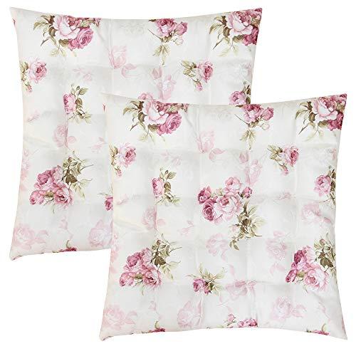 2er Set Sitzkissen Stuhlkissen ROSI 40x40x4 Rosen - rosa weiß Landhaus