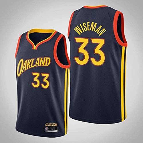 Ropa Jerseys de baloncesto para hombres, Golden State Warriors # 33 James Wiseman NBA Secado rápido Chaleco deportivo Tops sin mangas Camiseta Uniformes de baloncesto, Azul Oscuro, L (175 ~ 180 cm)