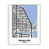 Mikspress Streeterville Chicago Neighborhood Map (11 x 14) Unframed, Acid Free Paper Print, Chicago Neighborhoods, Vertical Prints of Chicago City Map