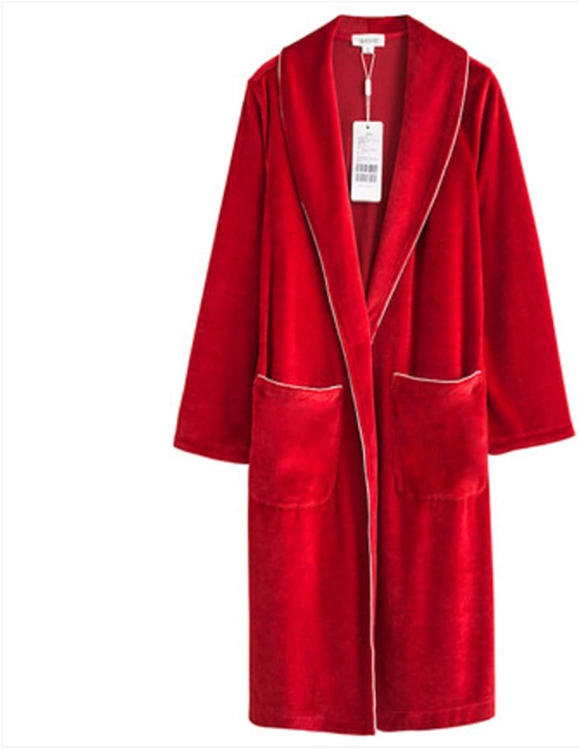 NAN Liang Mens and Ladies 100% Cotton Terry Toweling Shawl Collar Red Bathrobe Dressing Gown Bath Robe (color   A, Size   L)