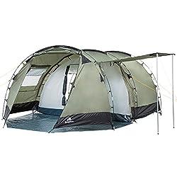 CampFeuer Tunnelzelt für 4 Personen Super+   Großes Familienzelt mit 2 Eingängen und 3.000 mm Wassersäule   Gruppenzelt   Campingzelt (olivgrün/schwarz)