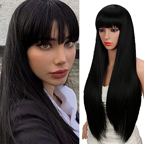 Kalyss 28 inches Women's Silky Long Straight Black Wig Heat Resistant Synthetic Wig With Bangs Hair Wig for Women