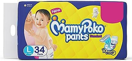 MamyPoko Standard Diaper Pants, Large (9 - 14 kg), Pack of 34