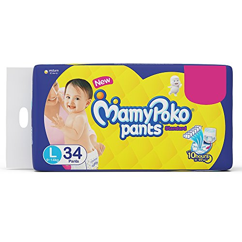 MamyPoko Standard Diaper Pants, Large (9 - 14 kg), Pack of 34
