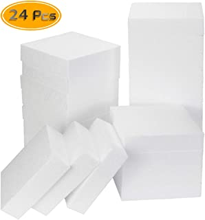 BcPowr 24Pack Premium Polystyrene Foam Board, White Square Polystyrene Foam Block, Smooth Craft Bricks for Sculpture, Modeling, DIY Arts and Sculpture,Kids Class, Floral Arrangement, 4 x 4 x 1Inches