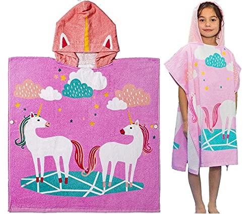 HausFine Kinder Badeponcho Kapuzenhandtuch aus 100% Baumwolle Poncho Handtuch Strandtücher Bademantel Badetücher Einhorn Design für Mädchen Jungen (Einhorn A Lila, 70, numeric_70)