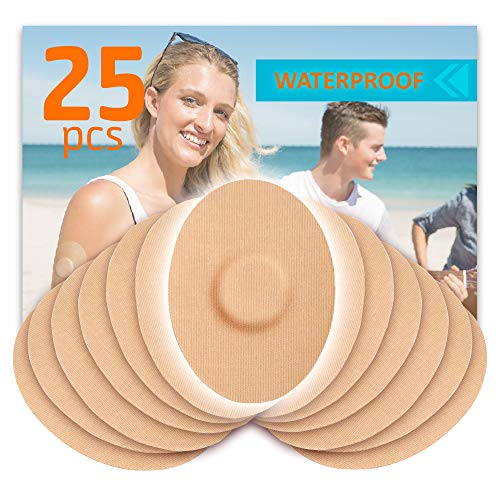 FixiC Patches 25 Pack for Enlite - Guardian – Freestyle Libre – Waterproof Adhesive Patches – Best Fixation - Pre Cut – TAN Color
