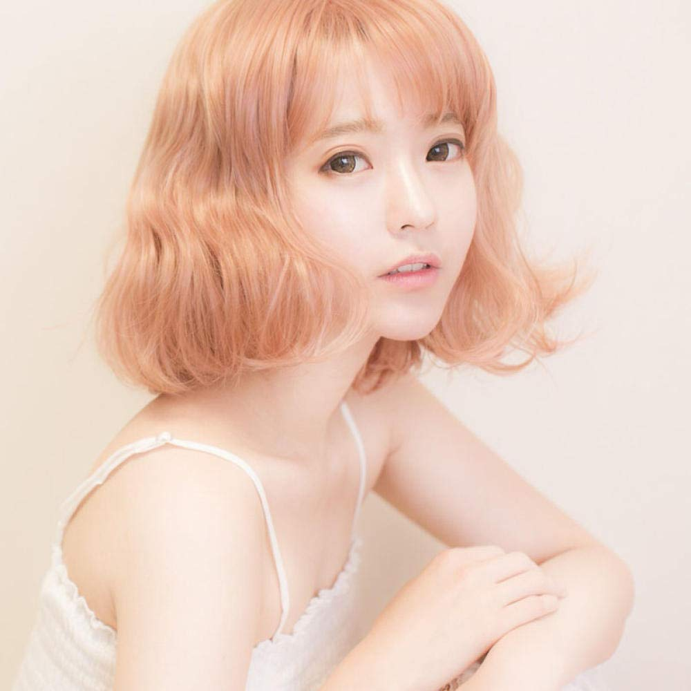Amazon Com Egg Roll Head Wig Female Short Hair Air Thin Bangs Short Curly Hair Fluffy Face Natural Sweet And Sweet Golden Pink Beauty