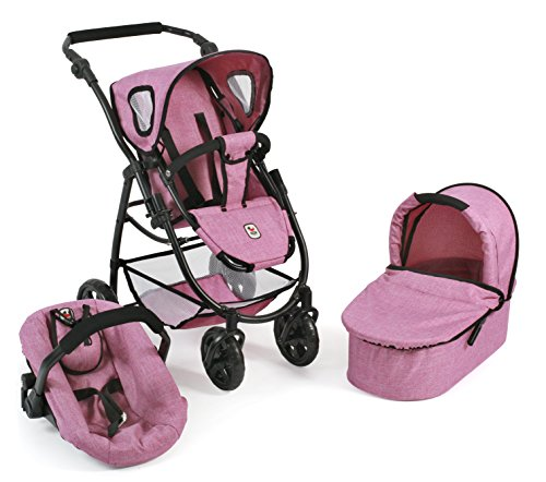 Bayer Chic 2000 637 70 Kombi-Puppenwagen 3-in-1 Emotion All Rosa, Jeans Pink