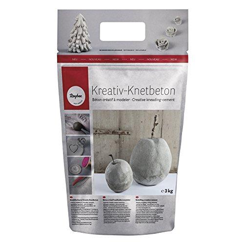 Rayher Kreativ-Knetbeton 3kg- im handlichen, wiederverschließbarem Beutel- für kreative Ideen zum Formen, Kneten, Modellieren, Drucken und Ummanteln – Bastelbeton für kreative Beton-Looks