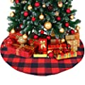 ATLIN Buffalo Plaid Christmas Tree Skirt - Larger 3 Inch Red and Black Checks for a Traditional Look - Machine Wash and Dry – 3 ft and 4 ft Models