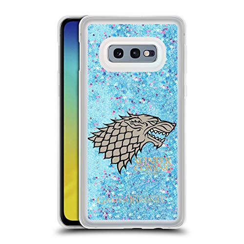 Head Case Designs Officially Licensed HBO Game of Thrones House Mottos - Stark Various Designs Light Blue Clear Hybrid Liquid Glitter Compatible with Samsung Galaxy S10e