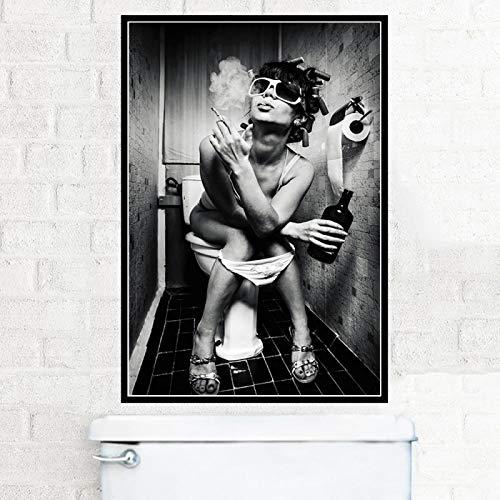 Pintura en lienzo Chica en el inodoro Fumar Beber Moda Pub Bar Aseo Arte de la pared Póster Impresiones Imagen para decoración de baño 80x100cm...
