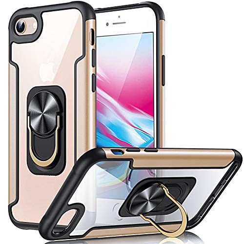 FayTun Funda iPhone 7 iPhone 8 SE 2020 Carcasa con 360 Grados Imán Soporte, Resistente Funda de protección contra caídas de Grado Militar Resistente a Golpes para iPhone 7/8/SE 2020 (Oro)