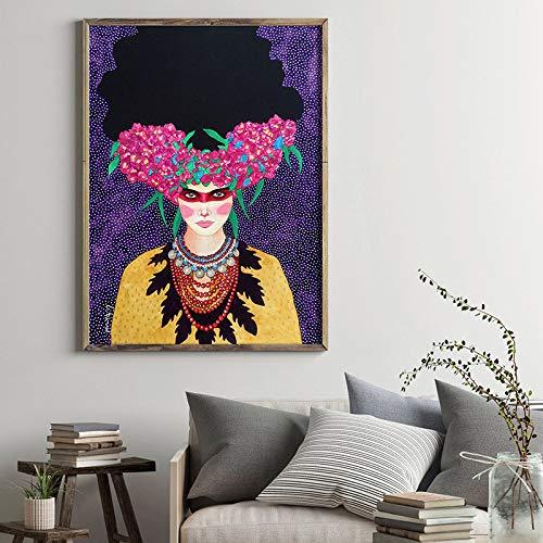 ganlanshu Lienzo Arte de la Pared Figura Pintura Belleza Mujer Flor Imagen Pared Sala de Estar decoración del hogar,Pintura sin Marco,40X60cm