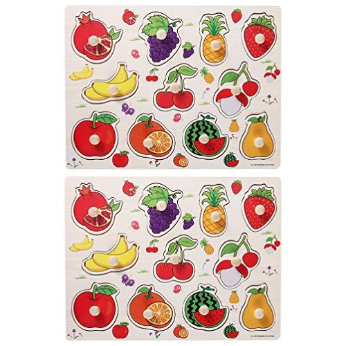 TOYANDONA 2 Juegos de Rompecabezas de Madera Pegados Tablero de Rompecabezas de Fruta Peg Mango de Agarre para Preescolar Desarrollo Educativo Temprano Juguete de Color Surtido