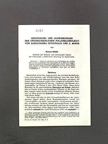 Entstehung und Auswirkungen der unterschiedlichen Pollenklebrigkeit von Sanguisorba officinalis und S. Minor. Pollen et Spores, Vol. XXI, No. 4